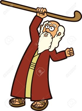 Moses The Prophet and His Staff Cartoon Illustration