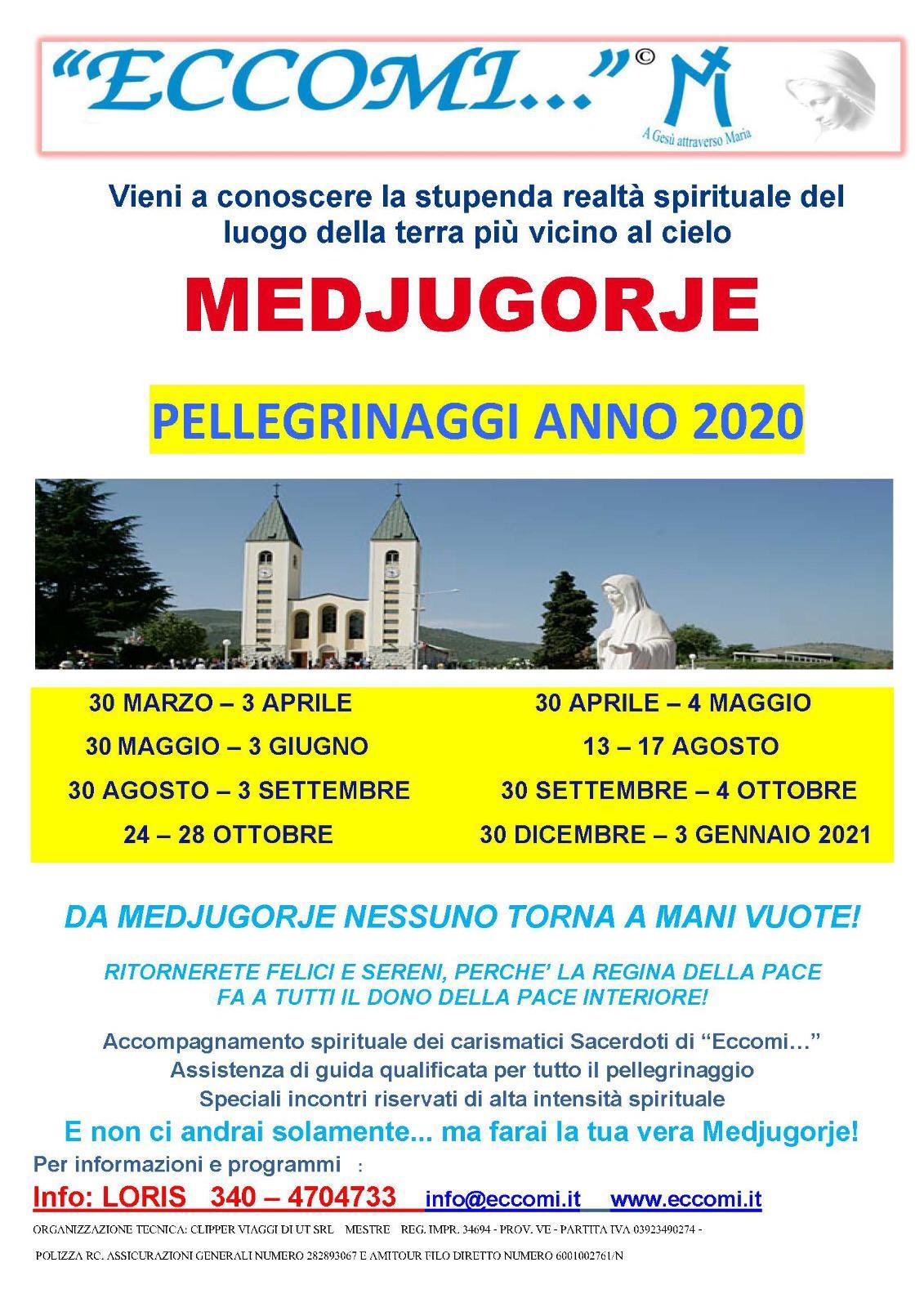 Pellegrinaggi Medjugorje gruppo eccomi 2020